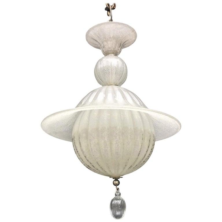 Mid-Century Modern Murano Italian Venetian Pagoda Lantern Glass Globe Fixture