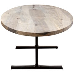 Oval Bronze Shaker Table in Oxidized Maple and Blackened Cast Bronze