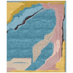 I.I Contemporary Art Hand-Knotted Wool and Silk 10x13,4 Rug by Angelina Askeri
