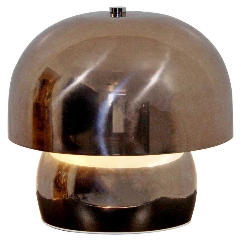 Mid-Century Modern Rare Large Laurel Metallic Copper Mushroom Table Lamp, 1960s For Sale