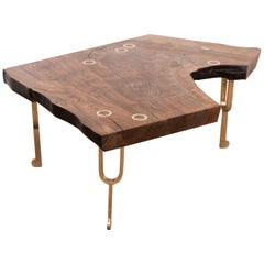 Tuning Fork Coffee Table in Satin Cast Bronze and Claro Walnut