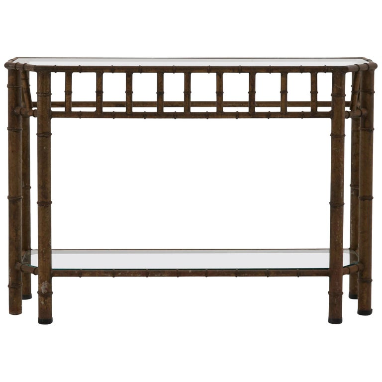 Faux Bamboo Iron Frame Console Table