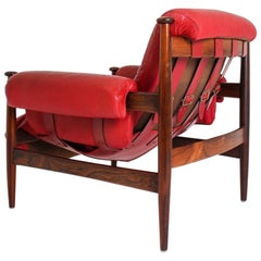 "Scandinavian Leather and Rosewood Lounge Chair ""Amiral"" by Eric Merthen"