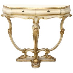 20th Century Italian Baroque Style Lacquered and Golden Console Table