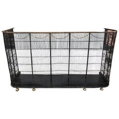 English Brass and Wire Nursery Fender with Ball Feet and Full Ash Pan