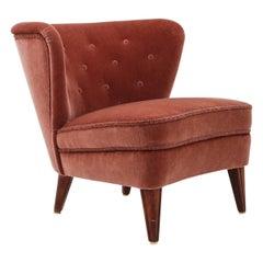 Swedish Lounge Chair in Dark Pink Velour by Gösta Jonsson, 1940s