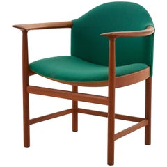 Midcentury Wood Dining Chair with Original Green Wool Upholstery