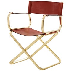 Italian Leather and Brass Director Chair