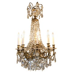 Antique French Bronze D'Ore and Baccarat Crystal Chandelier, circa 1880