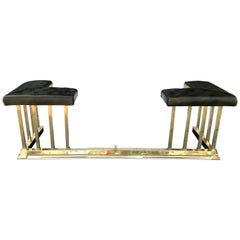 English Adjustable Club Fender Brass with Leather Tufted Cushions