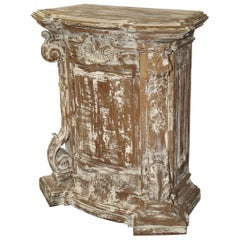 Antique Parcel Paint Louis XV Style Pedestal from Liege, Belgium, circa 1850