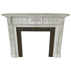 Antique French Louis XVI Carved Marble Fireplace Mantel Surround Bronze Insert