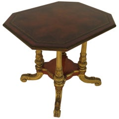 1880s French Gilt Carved Wood Table with Leather Top