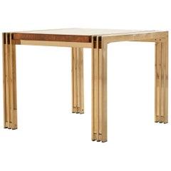 Milo Baughman Burlwood and Brass Table