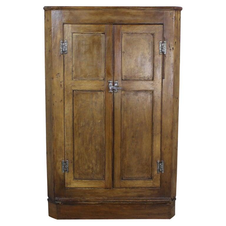 Antique English Pine Corner Cupboard - Antique Highly Carved, Pine Corner Cupboard For Sale At 1stdibs