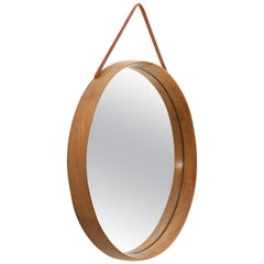 Round Swedish Midcentury Mirror in Oak by Uno & Östen Kristiansson for Luxus