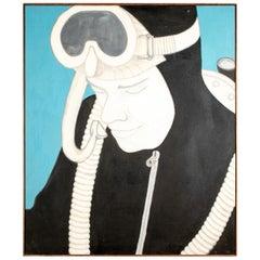"Pat Jensen, Oil on Canvas, ""Scuba Diver,"" circa 1963"