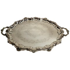 Antique English Sheffield Plate Serving Tray