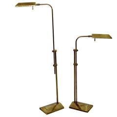 Mid-Century Modern Frederick Cooper Brass Adjustable Pharmacy Floor Lamps, Pair