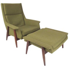 Milo Baughman Upholstered Lounge Chair with Ottoman