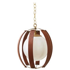 Midcentury Bentwood and Brass Pendant with Milk Glass Globe