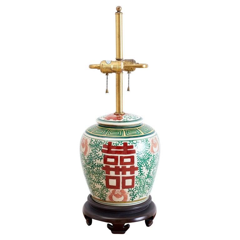 Chinese Porcelain Shuangxi Ginger Jar Table Lamp