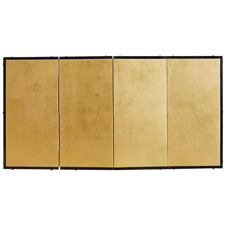 Japanese Four-Panel Gold Leaf Table Screen