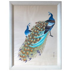Japanese Showa Period Peacocks Painted on Silk