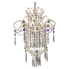 Wonderful Beaded Italian Venetian Blue Crystal Pagoda Lantern Chandelier Pendent