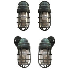Four Solid Brass Sconces by Crouse-Hinds, UK, circa 1940