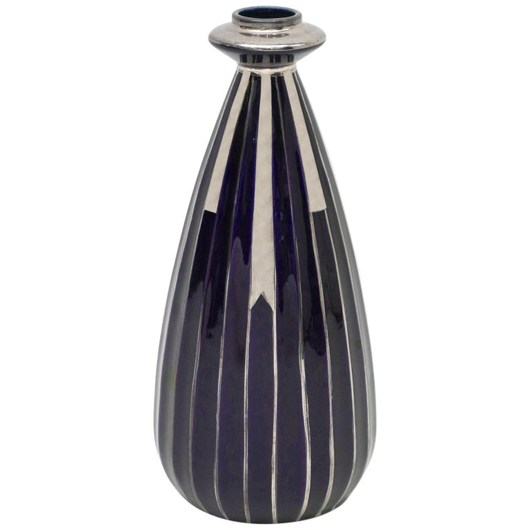 Porcelain Art Deco Navy and Silver Vase