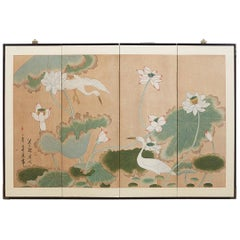 Japanese Cranes and Lotus Blossom Byobu Screen