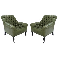Ralph Lauren Vintage Mayfair Tufted Armchair Set in Forest Green Leather