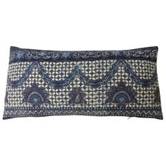 "Blue and White ""Kazak"" Long Bolster Decorative Pillow"