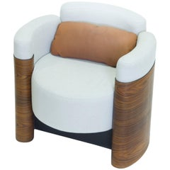 Armchair in Steel, Wood and Upholstery, Brazilian Contemporary Design