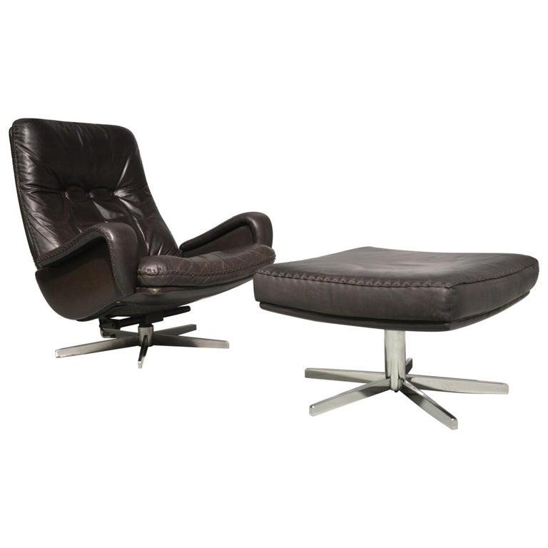 Vintage De Sede S 231 James Bond Swivel Lounge Armchair and Ottoman, 1960s For Sale