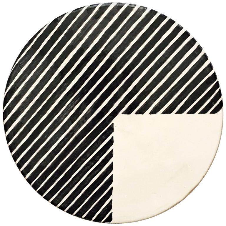 Handmade Ceramic Black and White 3/4 Stripe Pattern Serving Platter, in Stock