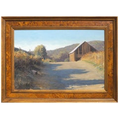 Thomas Buechner Oil Painting of a Barn on a Hill, Corning NY