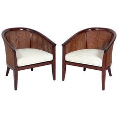 Pair of Elegant Caned Back Tub Chairs