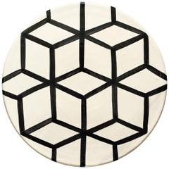 Handmade Ceramic Black and White Cube Pattern Serving Platter, in Stock