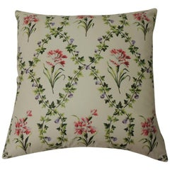 "White and Green ""Charlotte"" Floral Chintz Decorative Pillow Double-Sided"