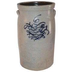 19th Century  Butter Churn Crock With Blue Decoration