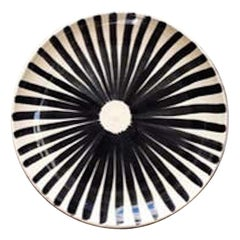 Handmade Ceramic Black and White Ray Pattern Dinner Plates, in Stock