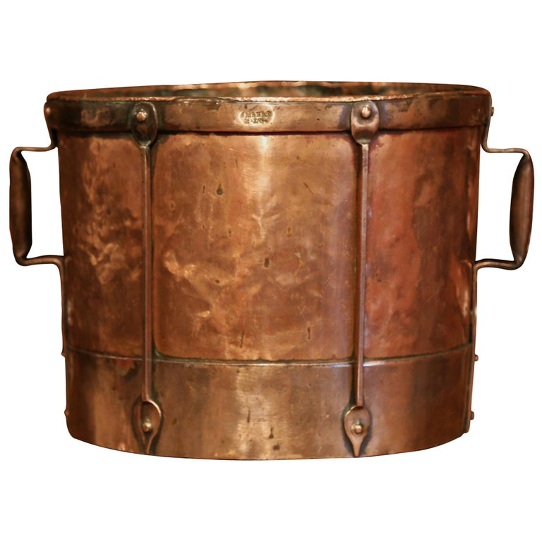 Mid-19th Century French Copper and Iron Grain Measure Basket with Side Handles