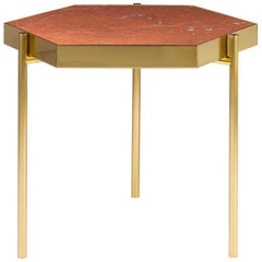 Kandinsky, Contemporary Hexagonal Side Table in Marble with Gold Metal Base