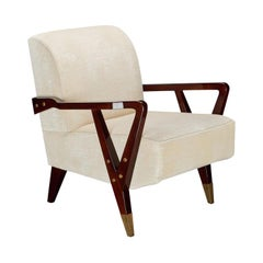 Pair of Midcentury Italian Armchairs in Walnut