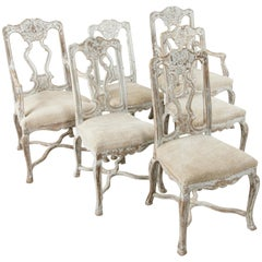 Set of Six Late 19th Century French Regency Style Hand-Carved Oak Dining Chairs