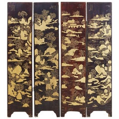 19th Century Chinese Qing Four-Panel Lacquer Gilt Screen
