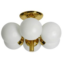 Kaiser Brass Ceiling Lamp with Six Opaline Glasses 1960s Space Age Atomic Design