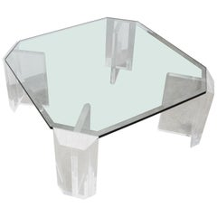 Lucite and Glass Square Cocktail Table